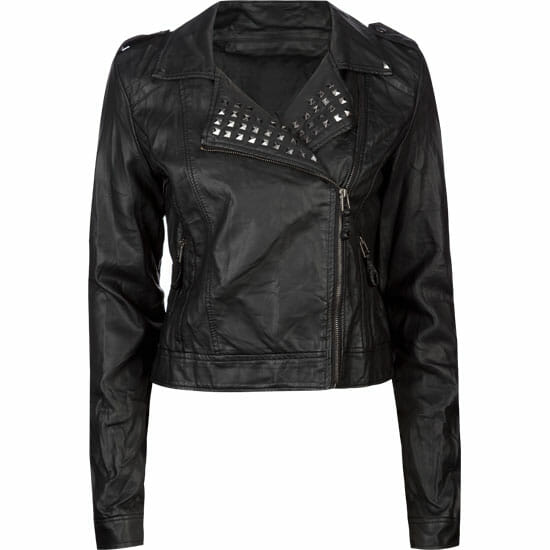 Ashley Studded Faux Leather Womens Biker Jacket (Tillys) $29.97