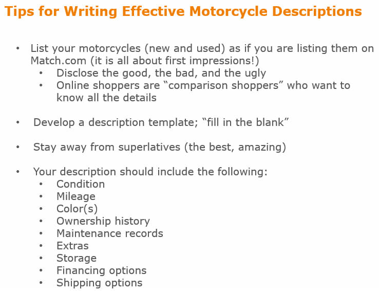 tips for writing effective motorcycle descriptions